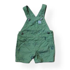 Army green animal print short overalls